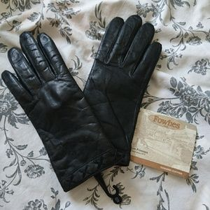Vintage FOWNES Black Leather Gloves Sz S